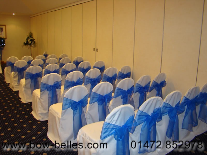 Ivory Chair Cover Blue Organza Sash