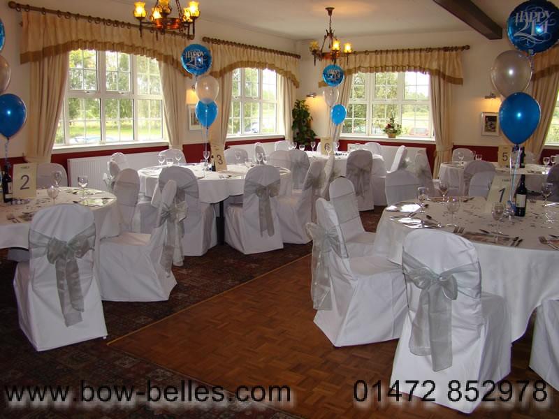 Pyewipe Inn White Chair Cover Silver Organza Sash